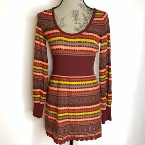 Free People Red Orange Knit Sweater Tunic/Mini -Sm